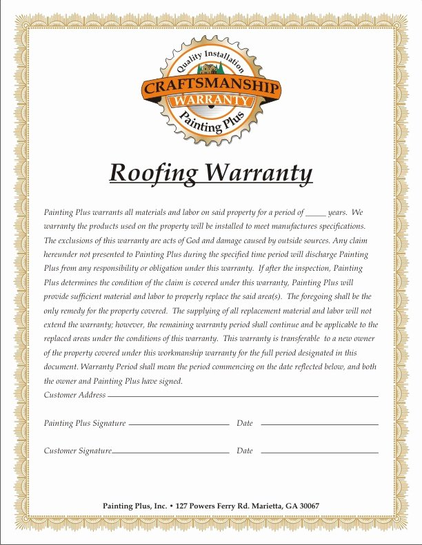 Construction Warranty Template Best Of Warranty Painting Plus