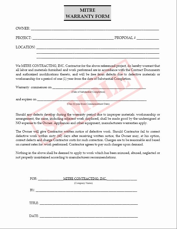 Construction Warranty Template Fresh 23 Of Contractor Warranty Template Work to Be Done