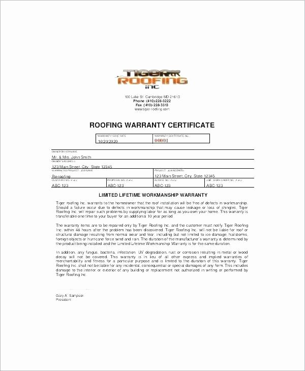 Construction Warranty Template Inspirational Roof Certification Template Magnificent Free Carlynstudio