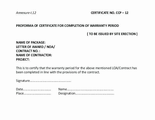 Construction Warranty Template Luxury Certificate Construction Pletion