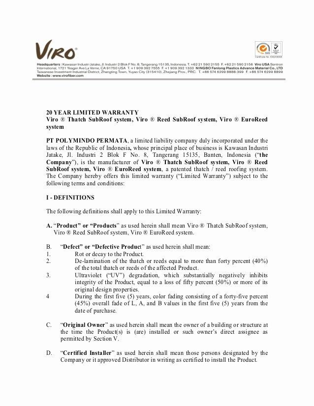 Construction Warranty Template Unique 010 Warranty Letter Of Viro thatch