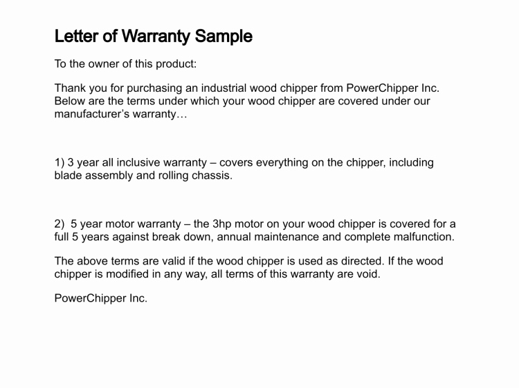 Construction Warranty Template Unique Letter Of Warranty