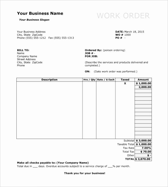 Construction Work order Template Awesome Work order Template 13 Free Word Excel Pdf Document