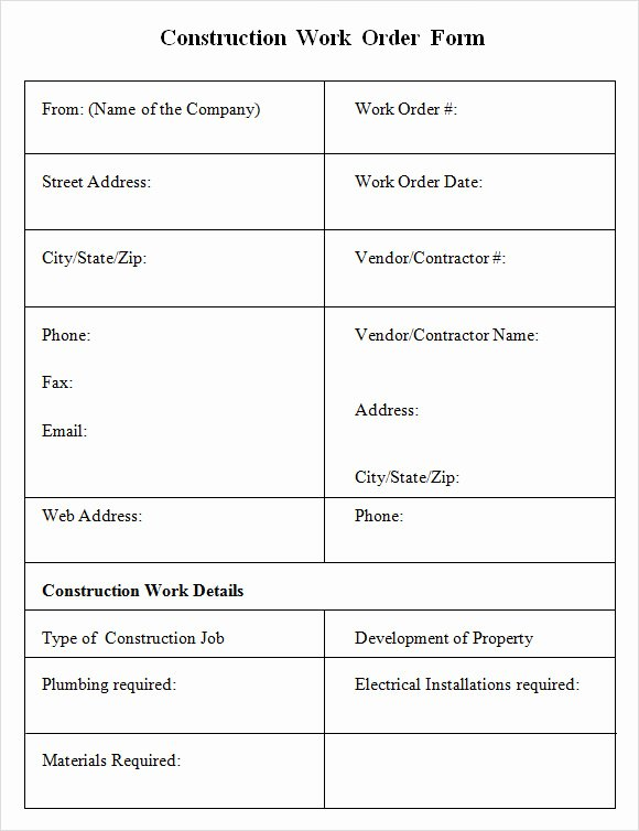 Construction Work order Template Beautiful 6 Sample Construction Work order forms – Pdf