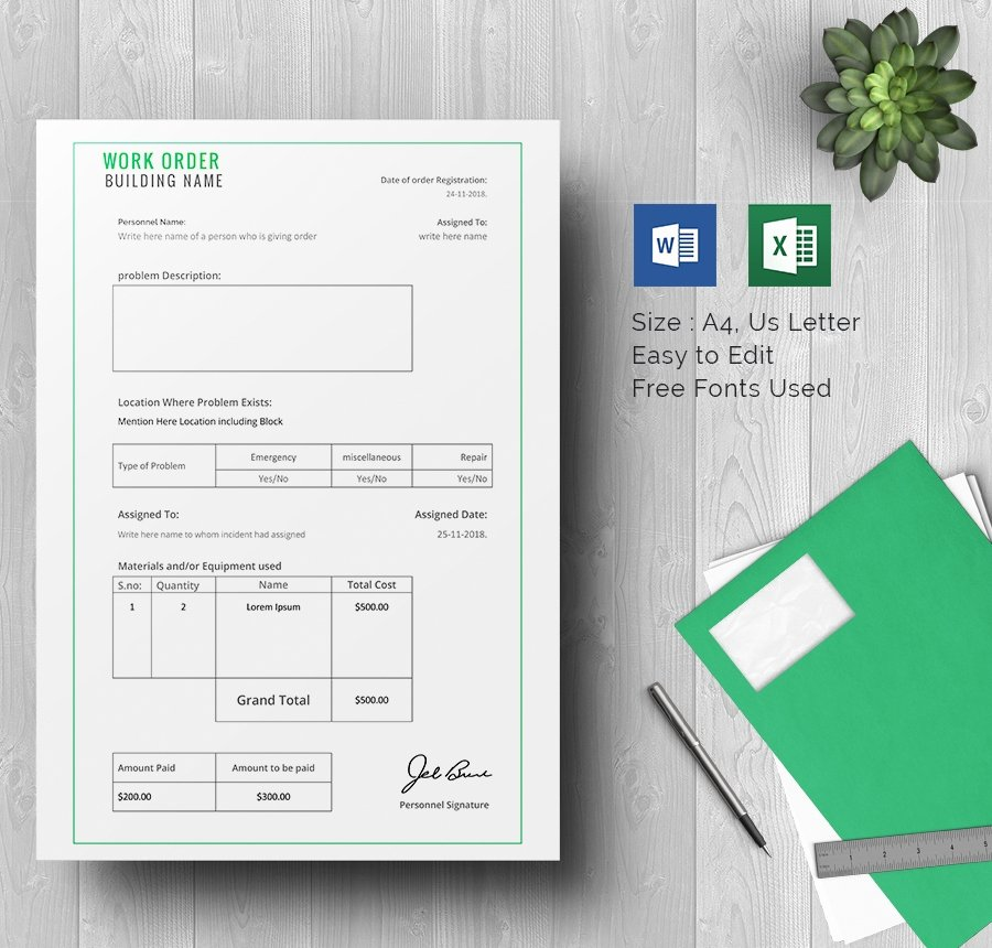 Construction Work order Template Beautiful Work order Template 23 Free Word Excel Pdf Document