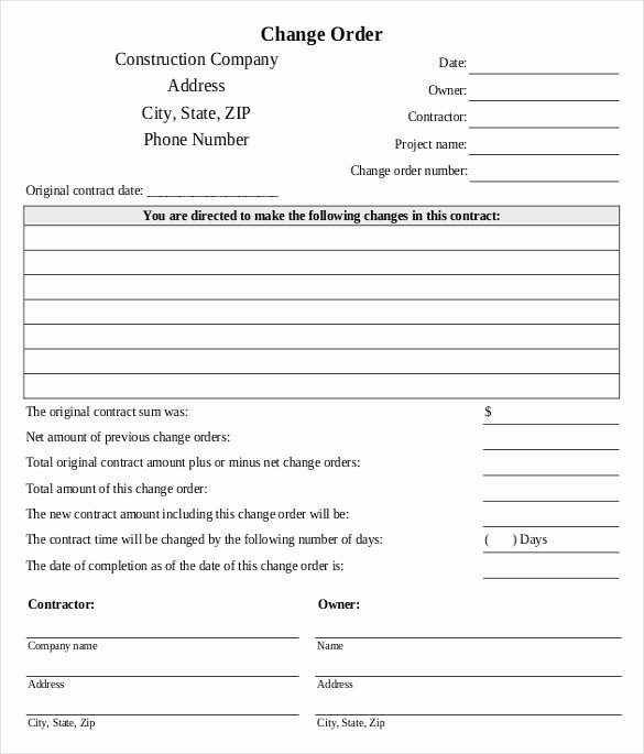 Construction Work order Template Best Of 14 Construction order Templates – Free Sample Example