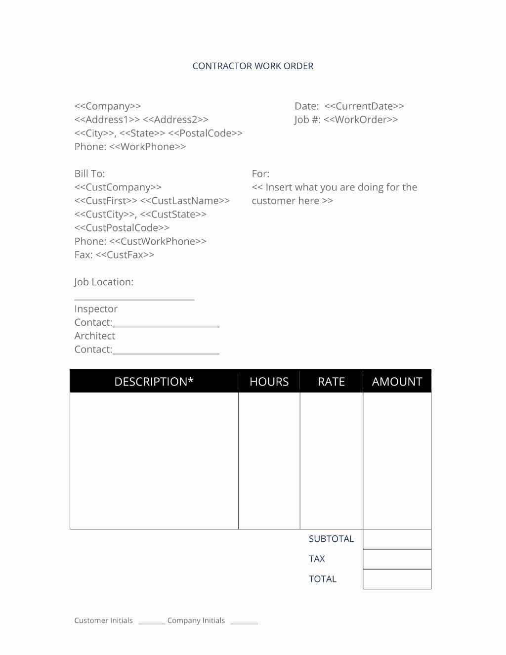Construction Work order Template Elegant General Contractor Work order 3 Easy Steps