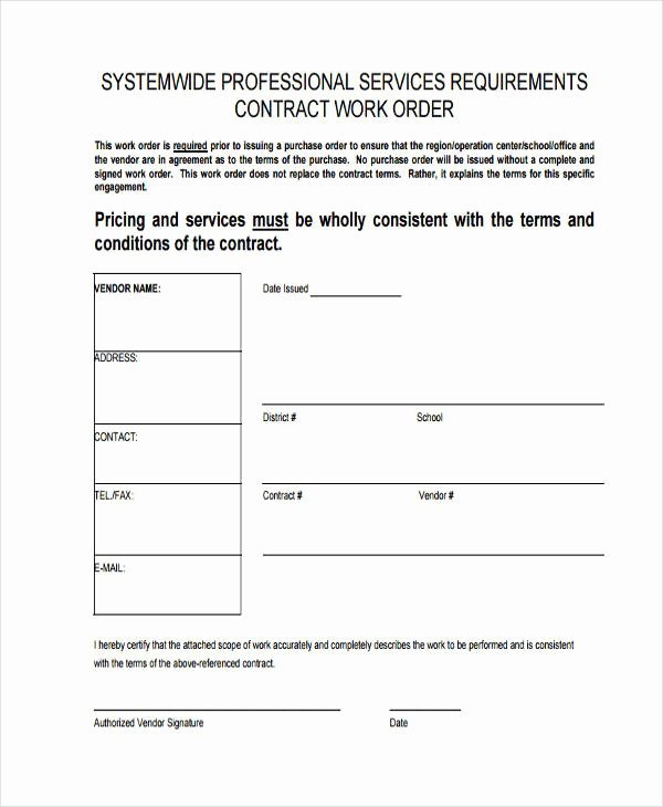 Construction Work order Template Lovely 17 Work order formats