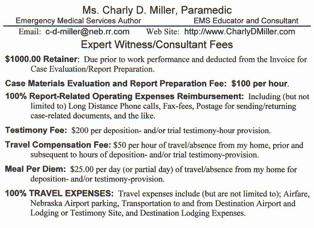 Consultant Fee Schedule Template New Expert Witness Fee Schedule