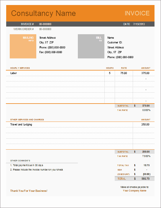 Consulting Invoice Template Word Best Of Consultant Invoice Template for Excel