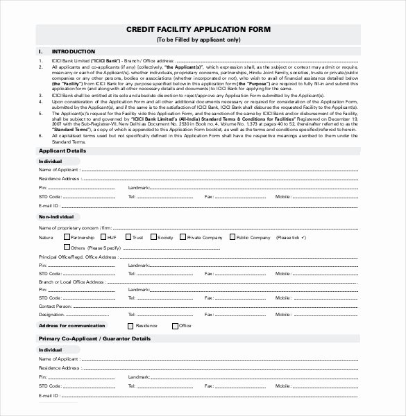 Consumer Credit Application form Unique Credit Application Template 33 Examples In Pdf Word
