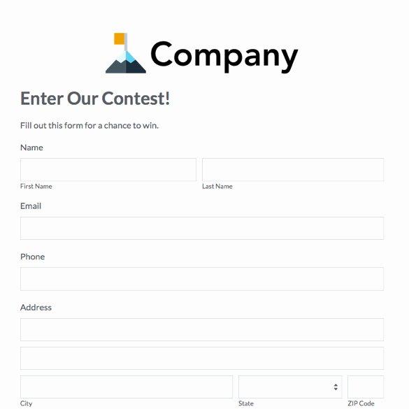 Contest Entry form Template Elegant eventbrite Alternative Simple event Management