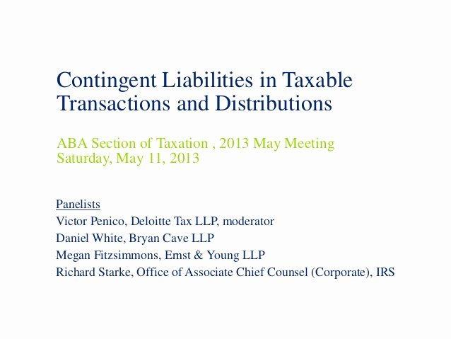 Contingency Contract Aba Lovely May 2013 Aba Panel Contingent Liabilities 2013 05 10
