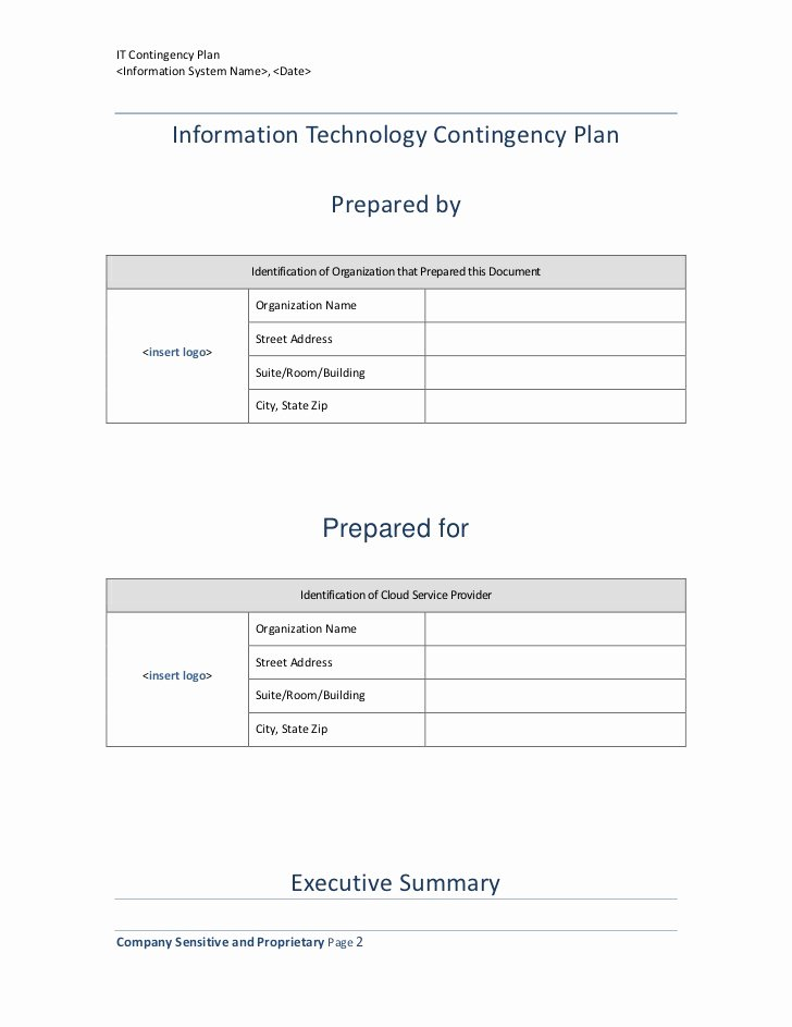 Contingency Contract Examples Awesome Information Technology Contingency Plan Template