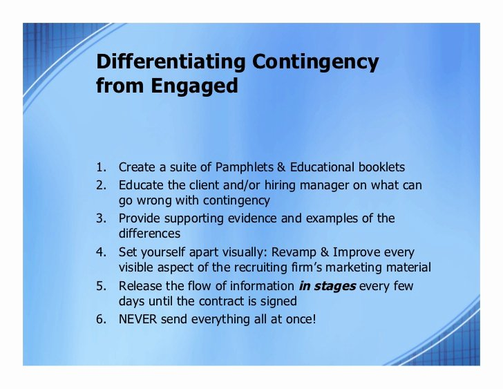 Contingency Contract Examples Elegant Transitioning to Engaged From Contingency