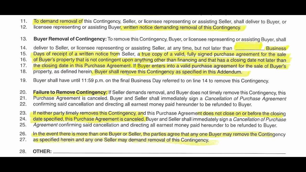 Contingency Contract Examples Inspirational Kwcr forms Addendum to Purchase Agreement Sale Of