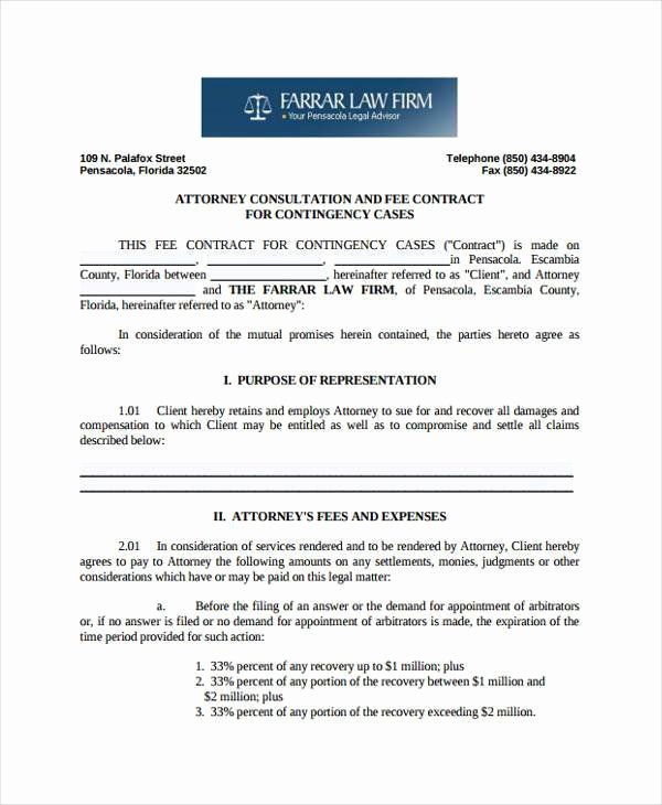 Contingency Contract Examples Luxury 8 Contingency Fee Agreement form Samples Free Sample
