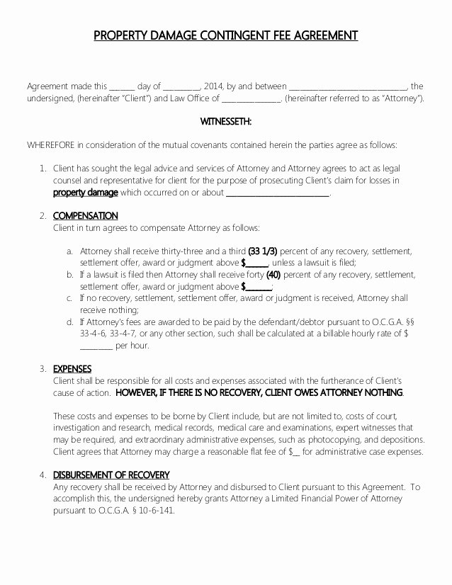 Contingency Contract Examples New attorney Retainer Contract Property Damage Contingent