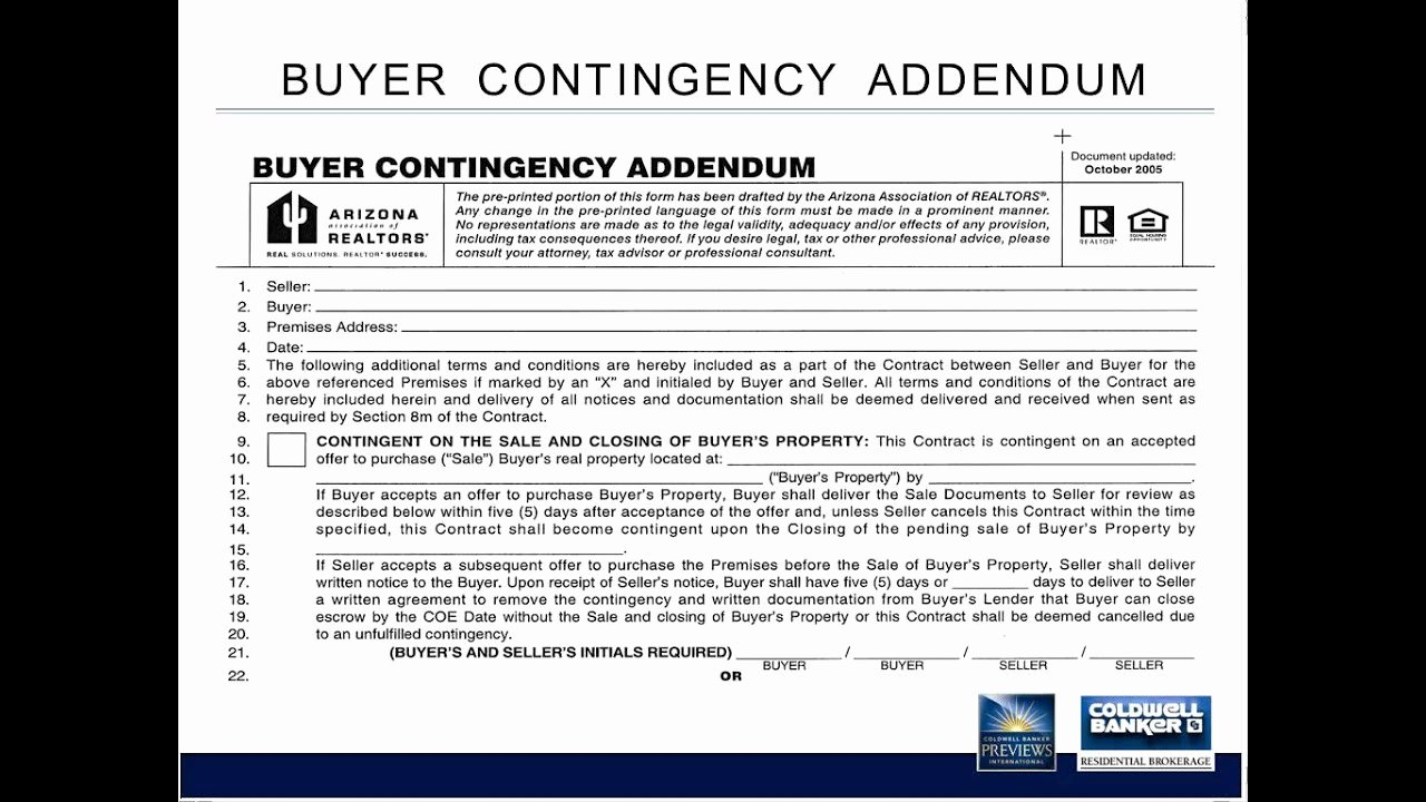 Contingency Contracting Example Awesome ask the Broker Aar Buyer Contingency Addendum 8 15 13