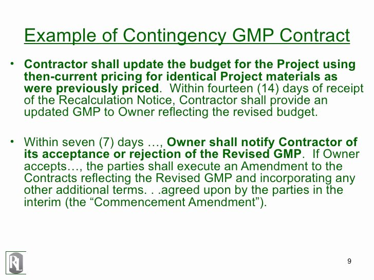 Contingency Contracting Example Elegant Drafting Construction Contracts
