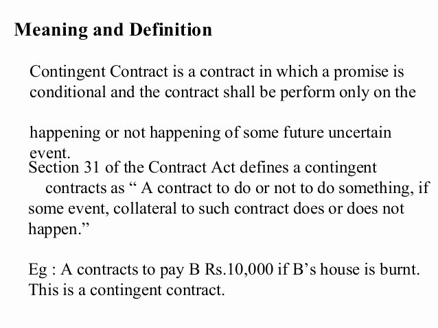 Contingency Contracting Example Inspirational Contingent Contract