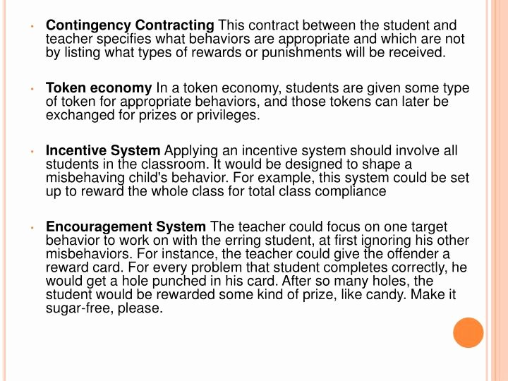 Contingency Contracting Example New Ppt Classroom Management Philosophies Powerpoint