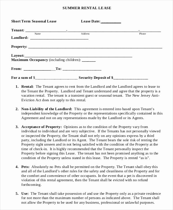 Contingency Contracting Example Unique Summer Short Term Rental Lease Agreement Example Template
