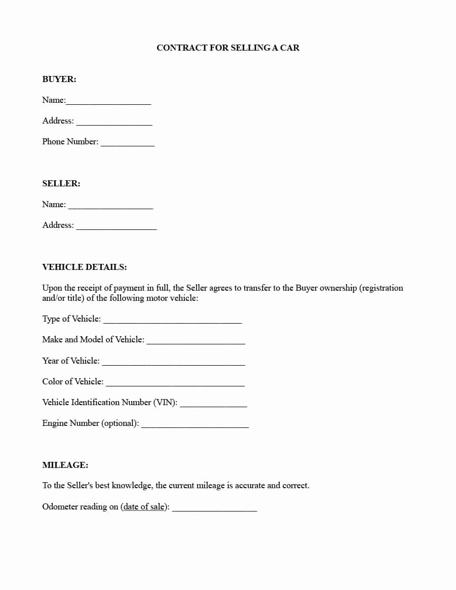 Contract for Buying A Car Best Of 42 Printable Vehicle Purchase Agreement Templates