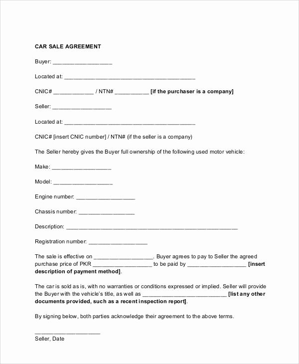 Contract for Buying A Car Elegant 11 Sample Vehicle Sales Contracts