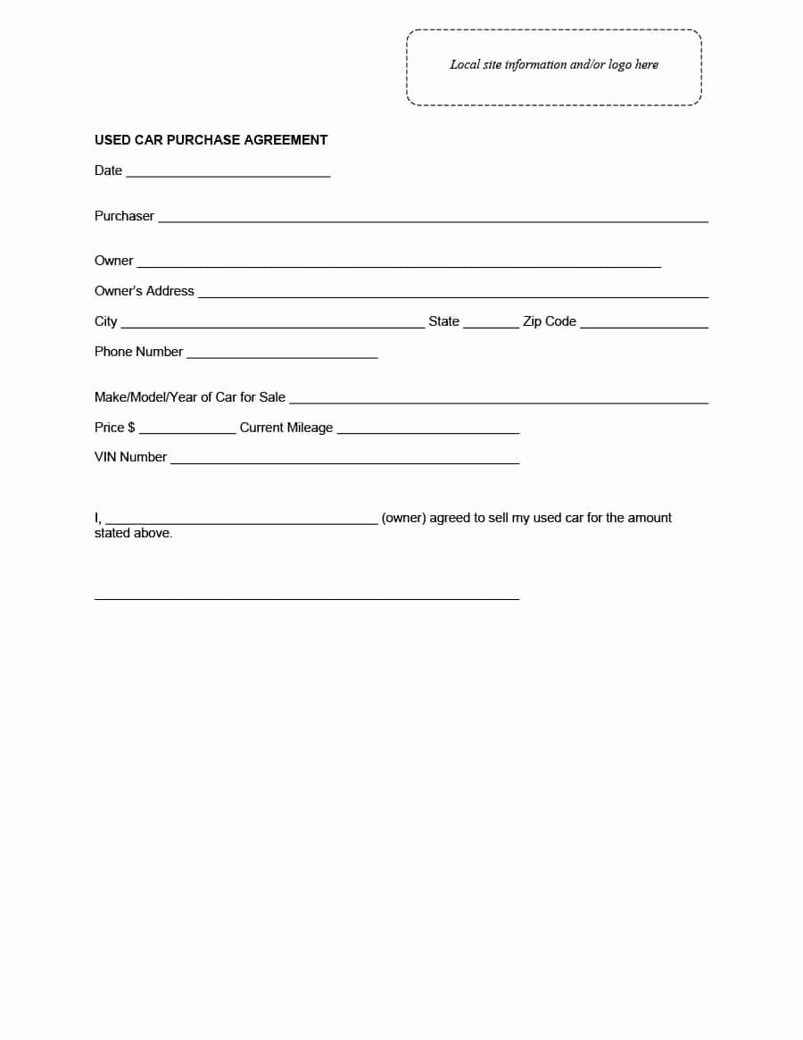 Contract for Buying A Car Elegant 42 Printable Vehicle Purchase Agreement Templates