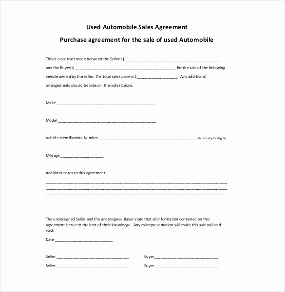 Contract for Buying A Car Fresh Sales Agreement Template Word