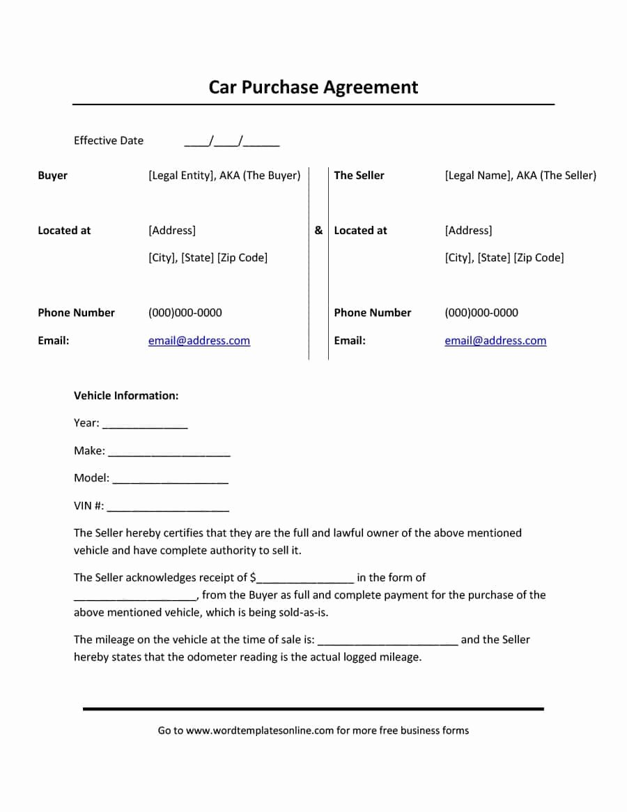 Contract for Buying A Car New 42 Printable Vehicle Purchase Agreement Templates