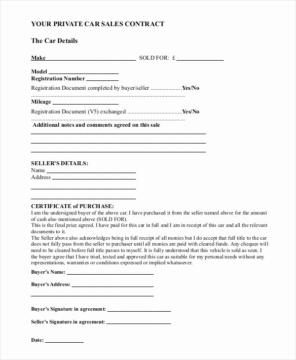 Contract for Buying A Car Unique Sample Car Sale Contract forms 8 Free Documents In Pdf Doc