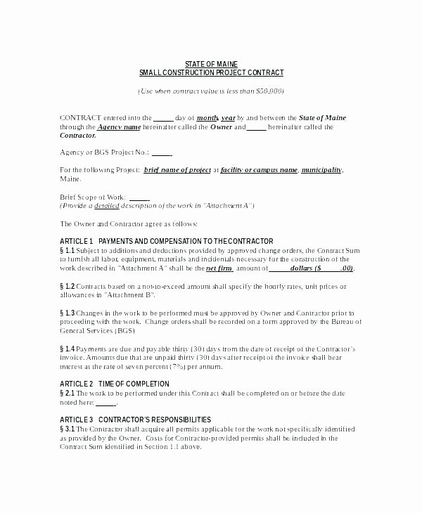 Contract Summary Template Beautiful Small Works Contract Template