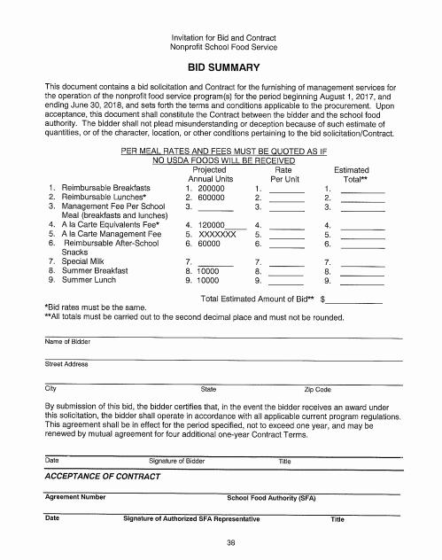 Contract Summary Template Best Of 9 Bid Summary Templates