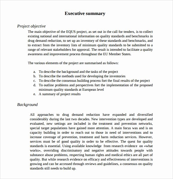 Contract Summary Template Luxury Sample Executive Summary Template 8 Documents In Pdf