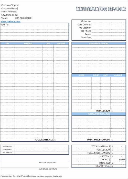 Contractor Invoice Template Excel Beautiful 20 Free Contractor Invoice Templates Word Excel format