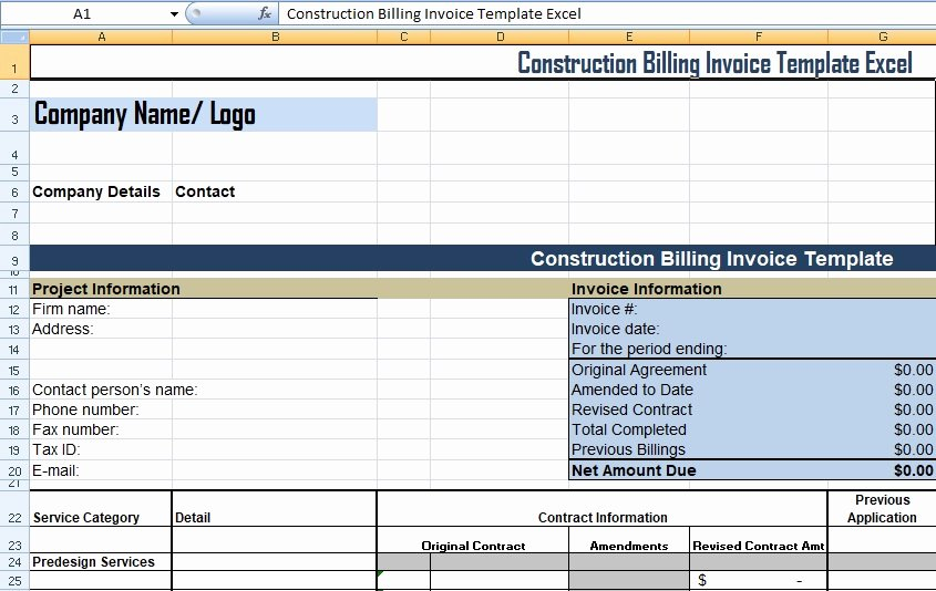 Contractor Invoice Template Excel Fresh Get Construction Billing Invoice Template Excel Xls Free