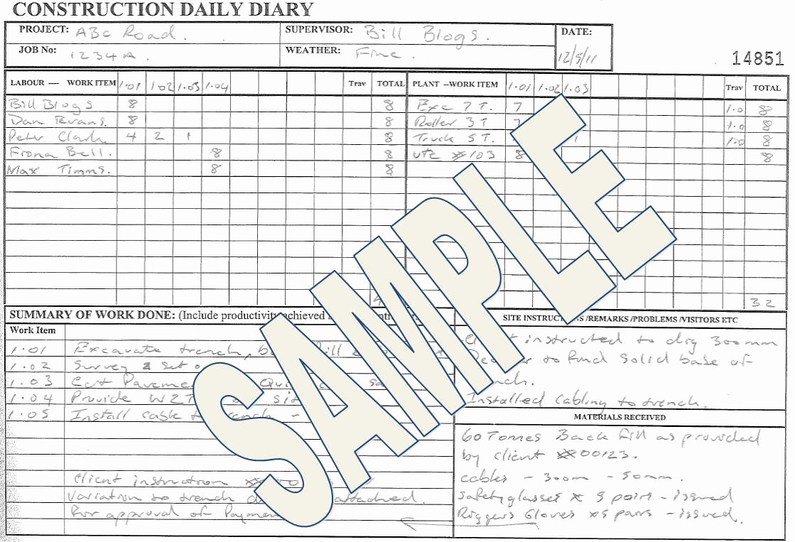Contractors Daily Log Book Unique Construction Daily Diary Ccf Sa