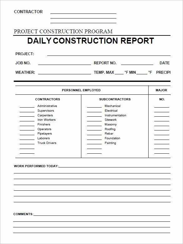 Contractors Daily Log Book Unique Daily Construction Report Template 25 Free Word Pdf