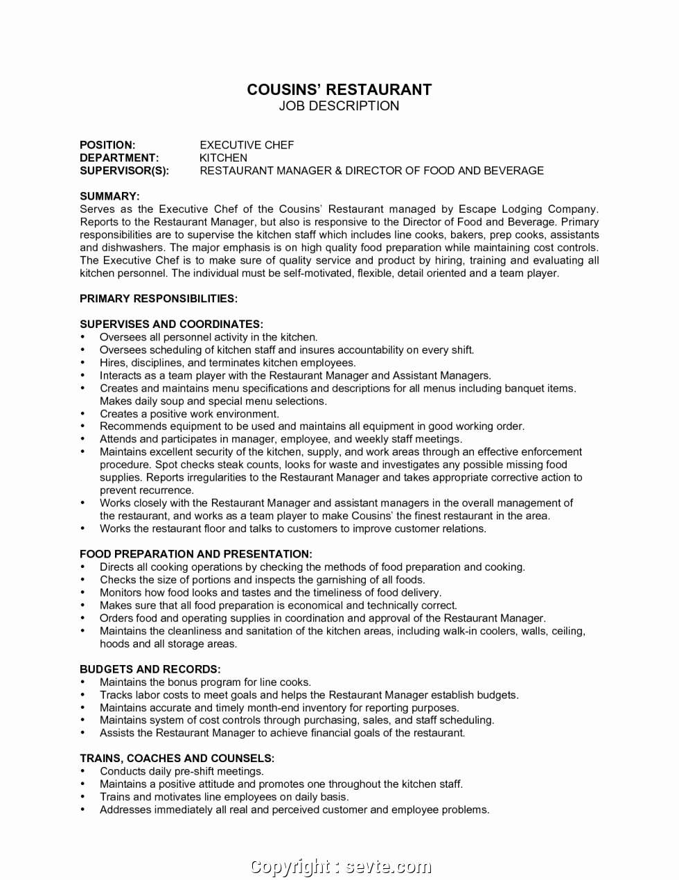 Cook Description for Resume Awesome Simple Restaurant Description Sample 9 Hostess Job