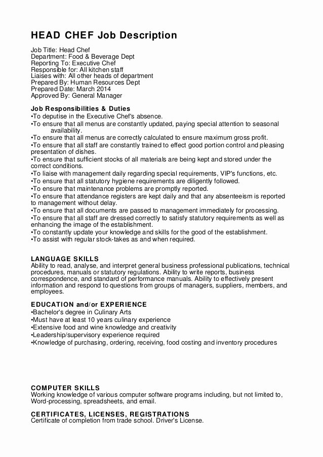 Cook Description for Resume Beautiful Head Chef Job Description