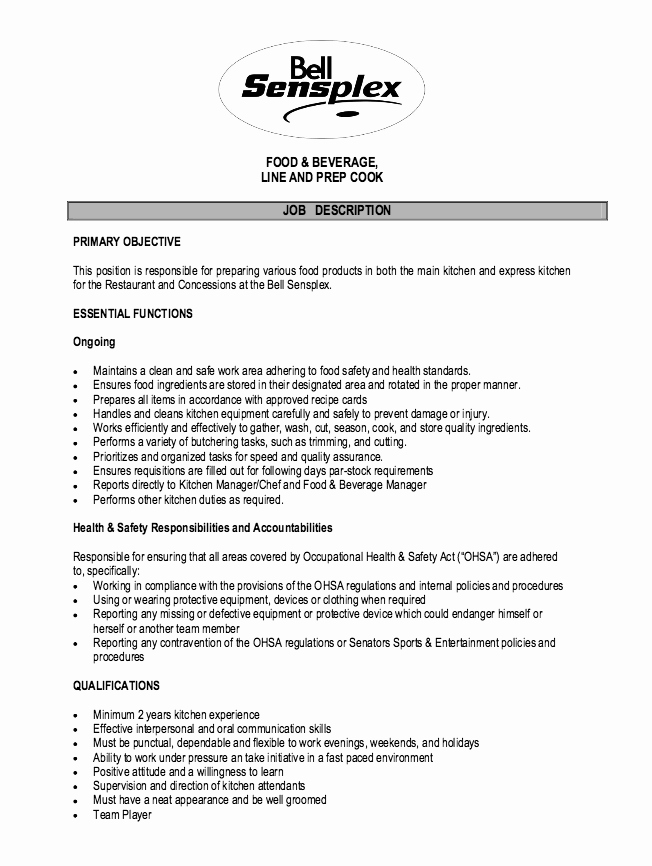 Cook Description for Resume Fresh Cook Job Description Resume