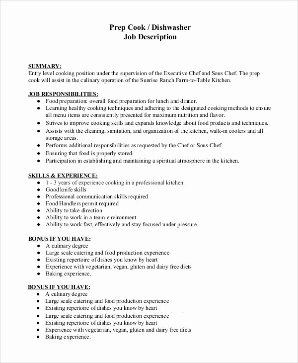 Cook Description for Resume Fresh Sample Dishwasher Job Description 8 Examples In Pdf Word