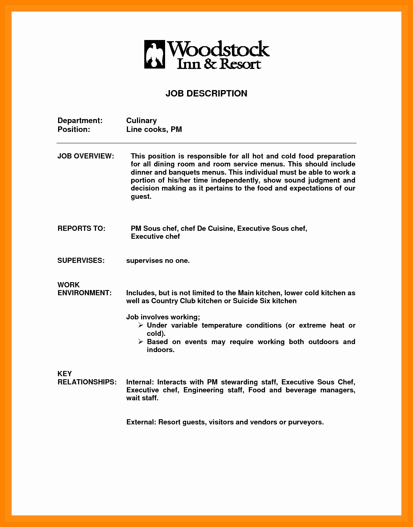 Cook Description for Resume Luxury 10 Resume Objective Line