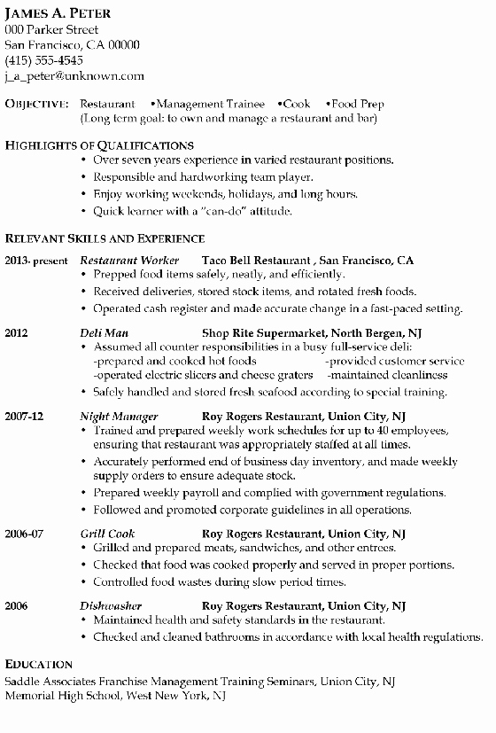 Cook Description for Resume Luxury Resume Sample Restaurant Management Trainee or Cook