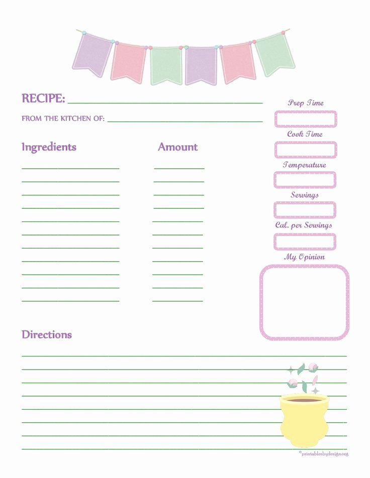 Cookbook Template Pages Awesome Fabric Bunting Recipe Card Full Page