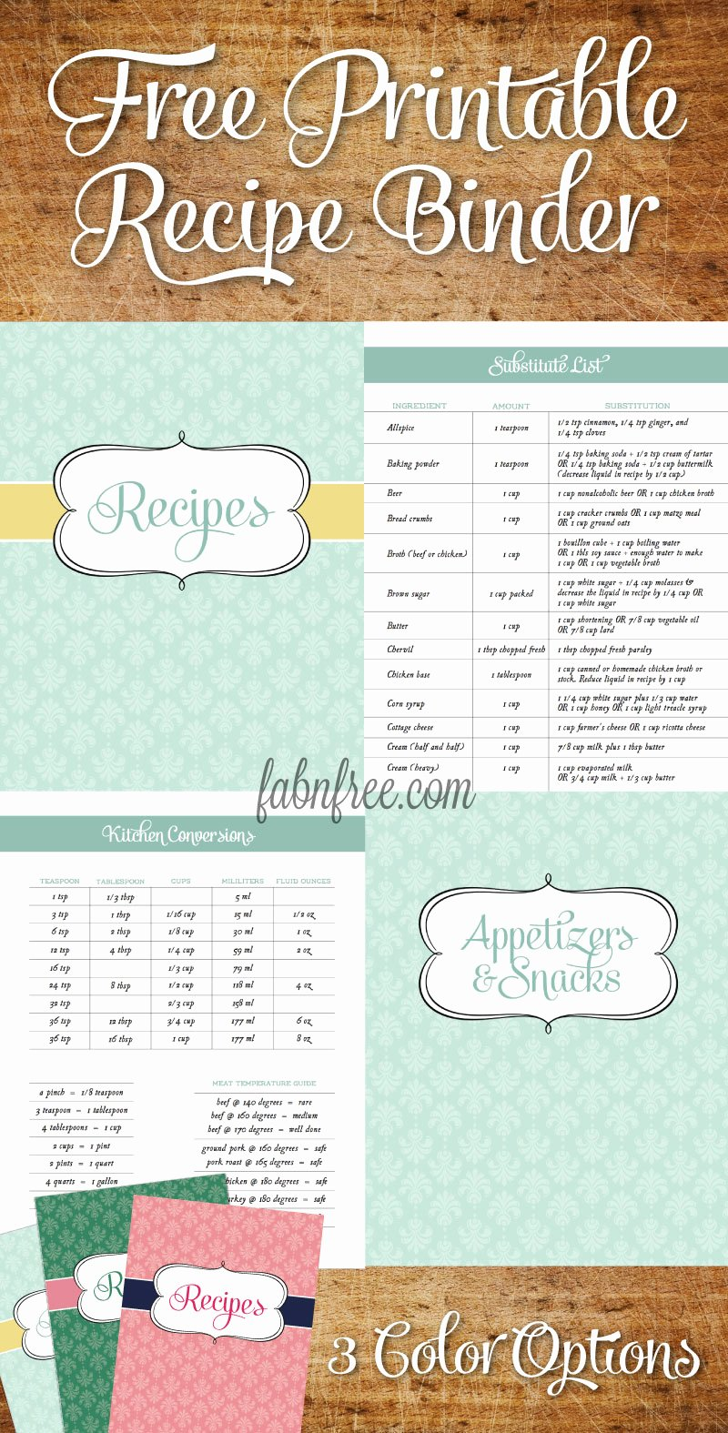 Cookbook Template Pages Awesome Free Recipe Binder In 3 Color Options