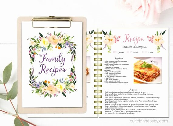 Cookbook Template Pages Beautiful Floral Printable Cook Book Editable Recipe Template
