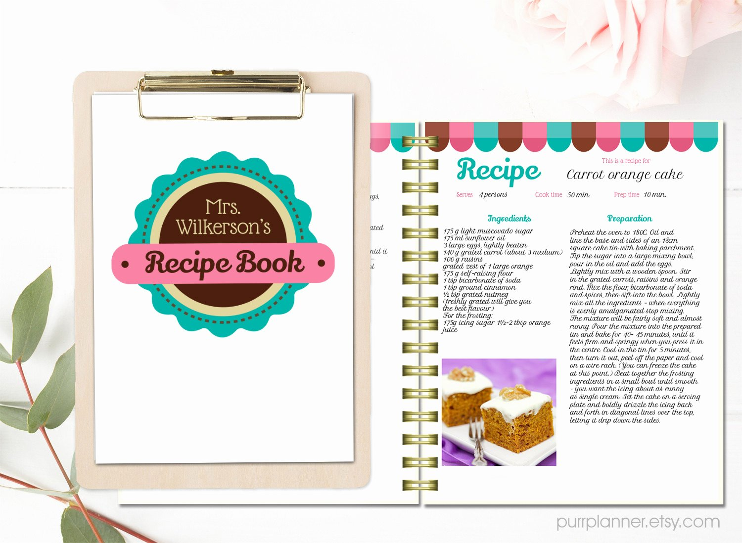Cookbook Template Pages Fresh Personalized Recipe Book Template Editable Recipe Pages and